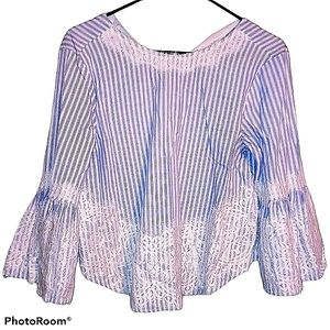 Zara Woman blouse striped white & blue with bow S